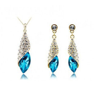 Silver Gold Crystal Tear Water Drop Jewelry Set