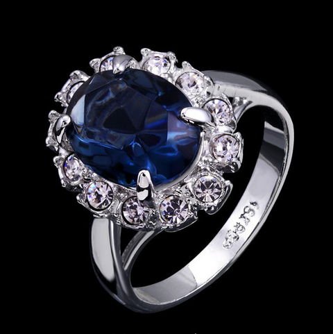 BLUE AUSTRIAN CRYSTAL WHITE GOLD PLATED LUXURY RING