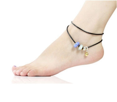 Blue Murano Glass Beads Gold Plated Love Heart Leather Anklet