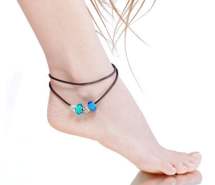 Blue Murano Glass Beads Charm Beaded Leather Anklet