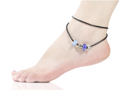 Blue Murano Glass Beads Star Charm Beaded Leather Anklet