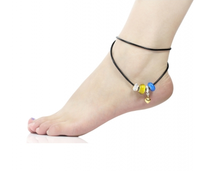 Blue & Yellow Murano Glass Beads Love Heart Dangle Leather Anklet