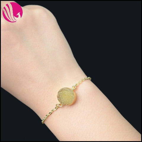 GOLD PLATED NATURAL DRUZY STONE BRACELET