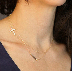 Cross Gold Plated Hand-Beaded Pendant Necklace
