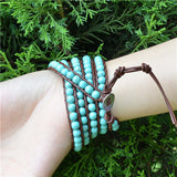 6MM BLUE TURQUOISE ON BROWN LEATHER