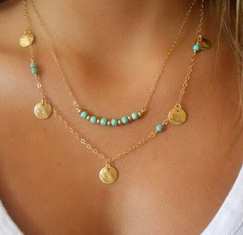 Gold Plated Disc Turquoise Charm Pendant Necklace