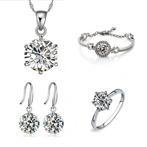 Silver White Gold Plated Jewelry Set