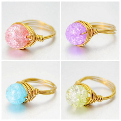 GOLD PLATED CANDY COLOR QUARTZ STONE RING
