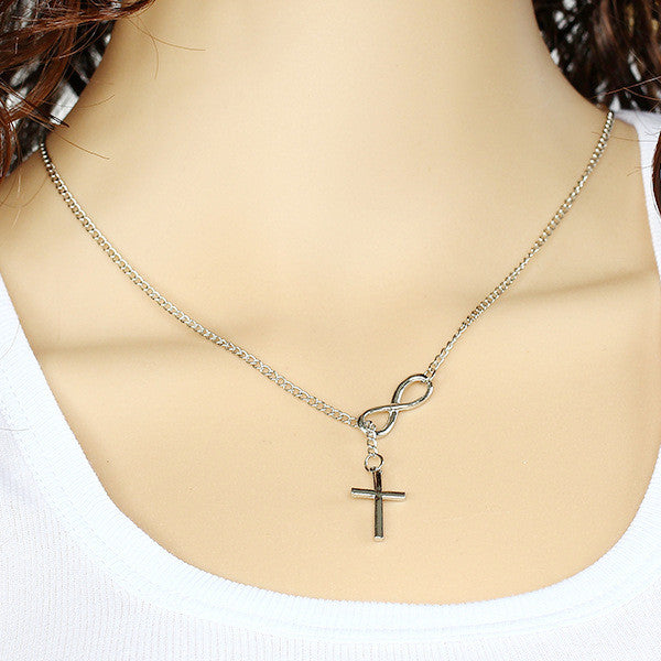 Cross Infinity Silver Simple Chain Pendant Necklace