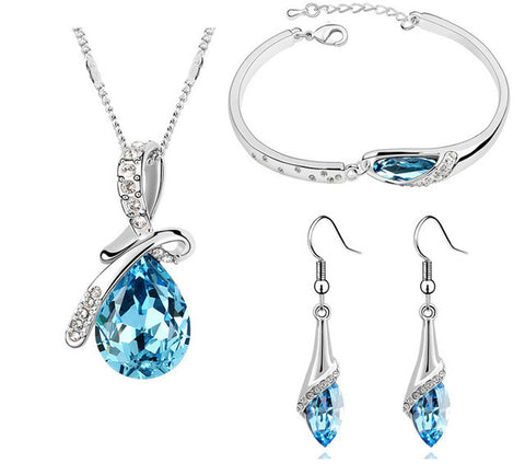 Blue Three Pieces Austrian Crystal Jewelry Set