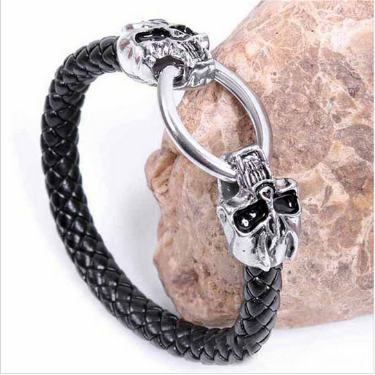 MEN'S GENUINE LEATHER GHOST SKULL BRACELET