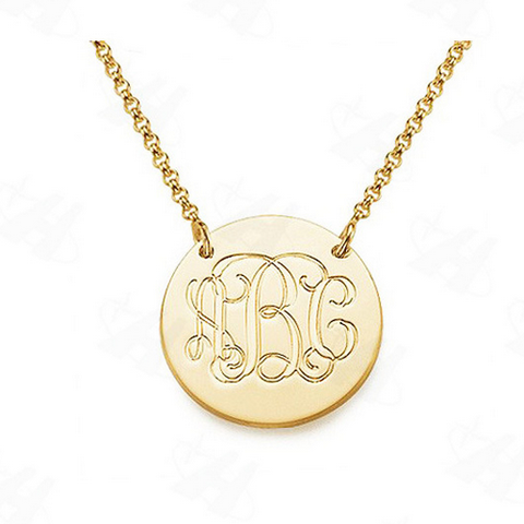 Celebrity Style Gold Plated Large Disc Monogram Necklace