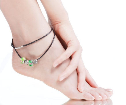 Green Murano Glass Beads Silver Plated Leather Anklet