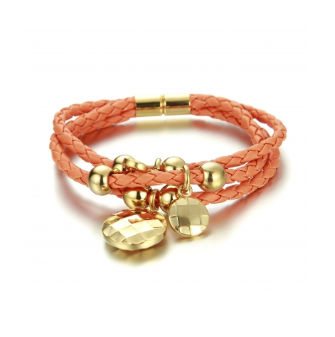 GOLD PLATED BUTTON ON ORANGE BRACELET