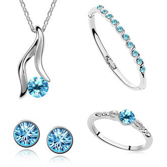 Silver Four Piece Crystal Jewelry Set