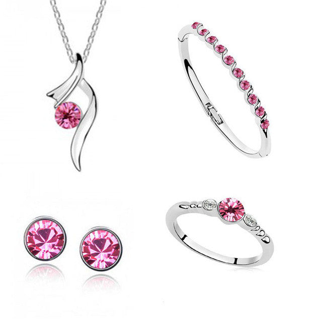 Silver Austrian Crystal Jewelry Set