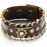 GENUINE LEATHER SUNFLOWER MEN'S BRACELET