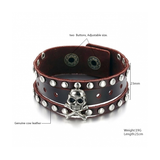 GENUINE LEATHER STAINLESS STEEL SKULL MEN'S BRACELET