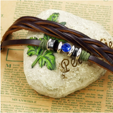 GENUINE LEATHER BLUE CRYSTAL MEN'S LEATHER BRACELET