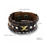 GENUINE LEATHER BLACK THREAD MEN'S BRACELET