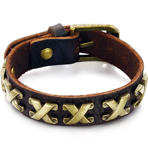 GENUINE LEATHER X-FACTOR MEN'S BRACELET