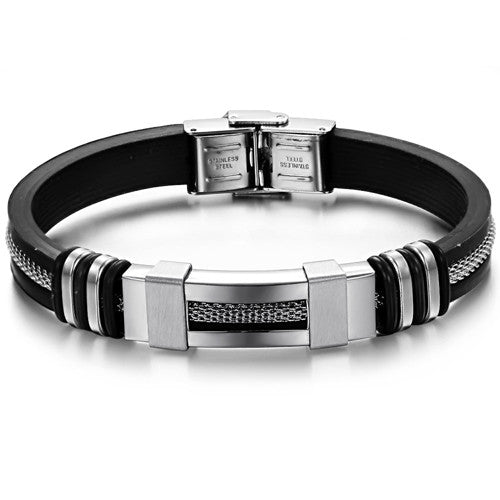 SILVER AND BLACK STAINLESS STEEL MEN'S BRACELET