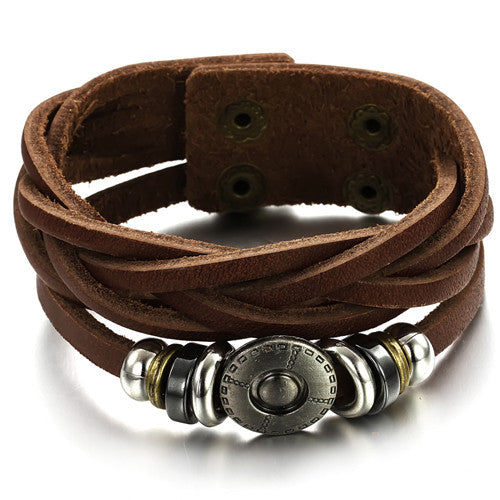 GENUINE LEATHER BUTTON MEN'S BRACELET