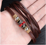 GENUINE LEATHER MEN'S STAINLESS STEEL BRACELET
