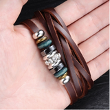 GENUINE LEATHER MEN'S HANDMADE CHARM STAINLESS STEEL BRACELET