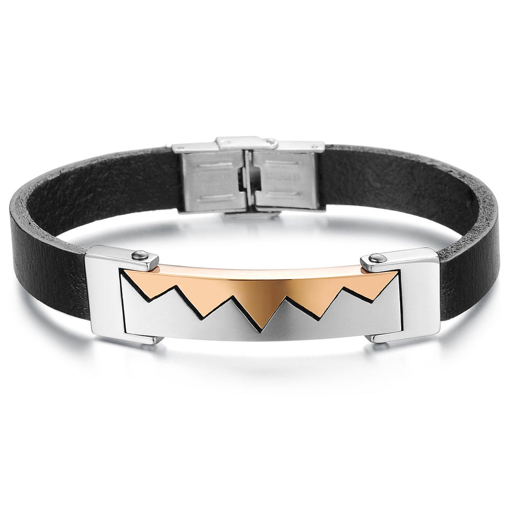 STAINLESS STEEL MEN'S LEATHER BRACELET