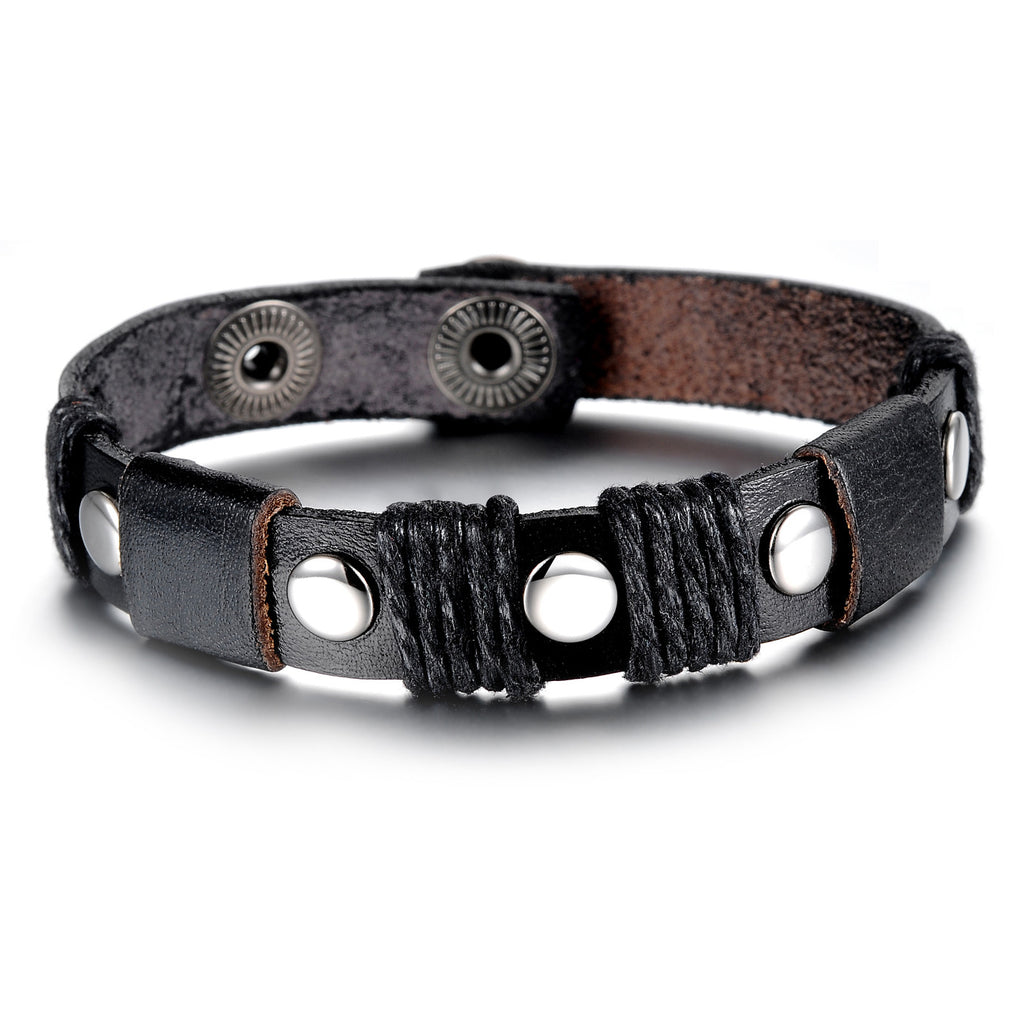 BLACK GENUINE LEATHER STAINLESS STEEL BUTTONS MEN'S BRACELET