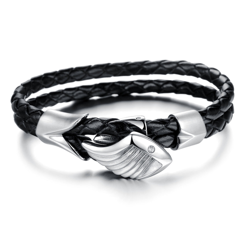 MEN'S STAINLESS STEEL FISH GENUINE LEATHER BRACELET