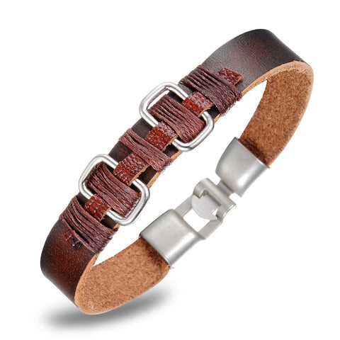 GENUINE BROWN LEATHER MEN'S BRACELET