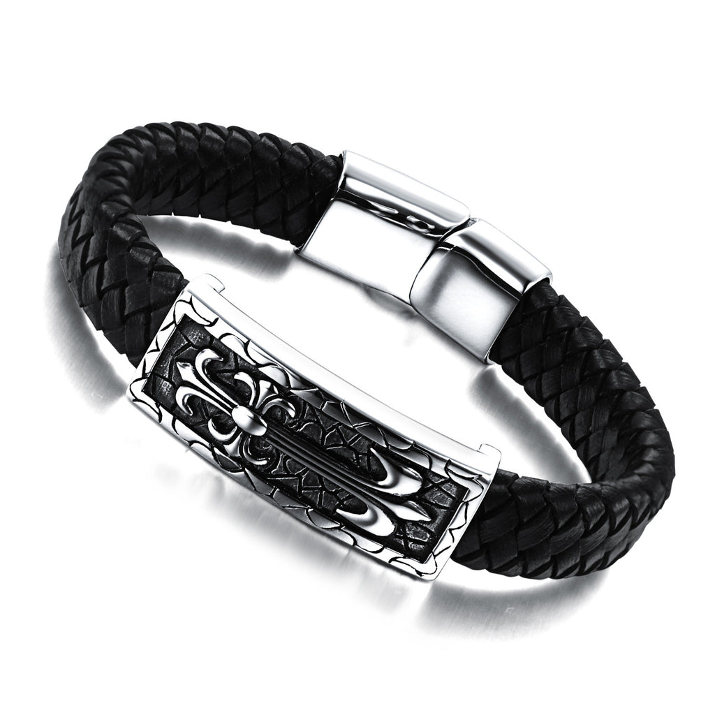 MEN'S STAINLESS STEEL GENUINE LEATHER BRACELET