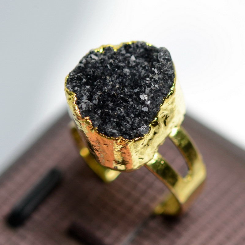 GOLD PLATED DRUZY NATURAL STONE RING
