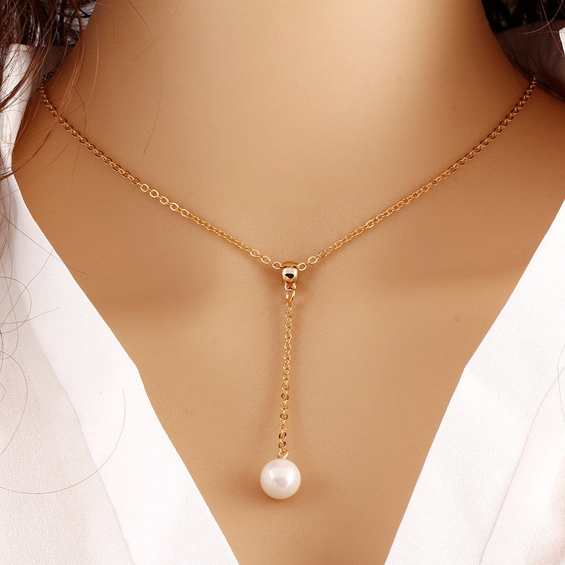 Gold Plated Pearl Charm Pendant Necklace