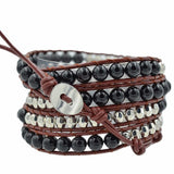 6MM BLACK AGATE BEADS WITH SILVER ON NATURAL