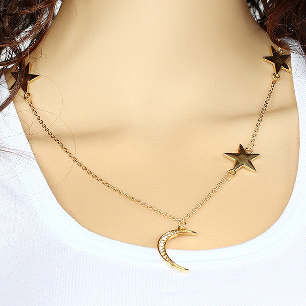 Gold Plated Stars Moon Chain Pendant Necklace