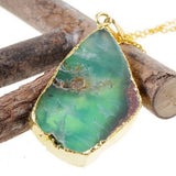 GOLD PLATED DRUZY STONE PENDANT NECKLACE
