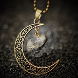 MOON NATURAL QUARTZ STONE PENDANT NECKLACE