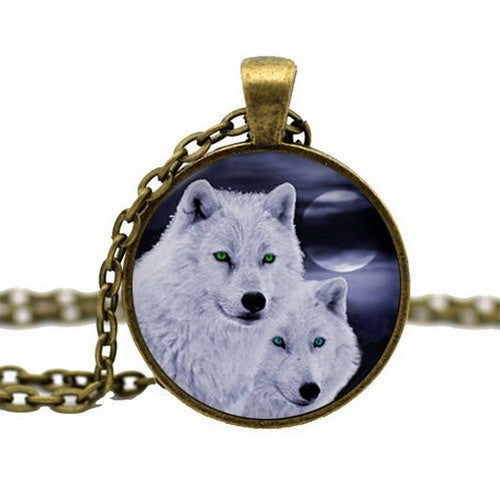 Handmade Wolf Glass Cabochon Pendant Necklace