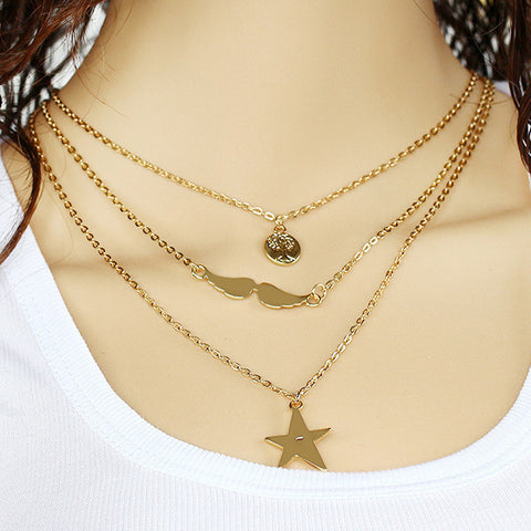 Gold Plated Coin Birds Star Multilayered Pendant Necklace
