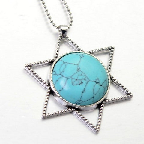 STAR OF DAVID NATURAL STONE PENDANT NECKLACE