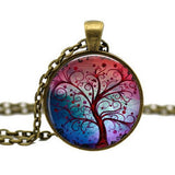 Handmade Hope Life Tree Glass Cabochon Pendant Necklace