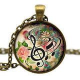 Handmade Music Glass Cabochon Pendant Necklace