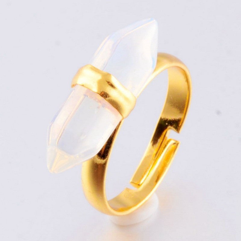 GOLD PLATED QUARTZ CRYSTAL RESIZABLE RING