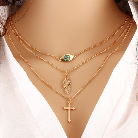 Cross Gold Plated Evil Eye Leaf Pendant Necklace