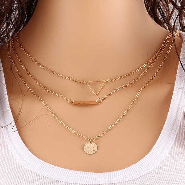 Gold Plated Hollow Triangle Coin Pendant Necklace