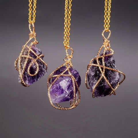 GOLD PLATED PURPLE STONE PENDANT NECKLACE