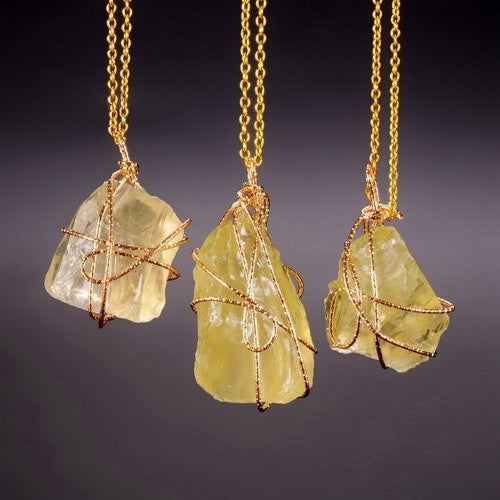 GOLD PLATED YELLOW QUARTZ PENDANT NECKLACE